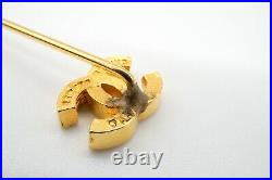 CHANEL Pin Brooch Badge Coco Mark Logo Accessories Jewelry Gold 2632j