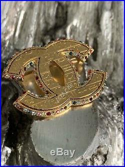 CHANEL Scarab Brooch 19A Multicolor Crystal Jewel Gold CC Pin 2019 Hieroglyphics