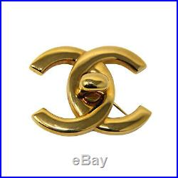 CHANEL Vintage 97P Gold Plated Logo CC Brooch Pin