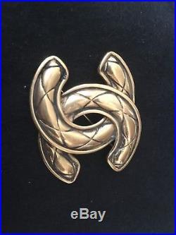 CHANEL Vintage Brooch Pin CC Mark 1152 Gold Tone