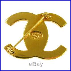 CHANEL Vintage CC Logos Turnlock Brooch Pin Corsage Gold 96P AK17388g