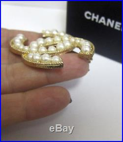 CHANEL XL Classic CC Logo Faux Pearl Pin Brooch Gold Tone 2012