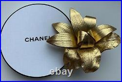 CHANEL pin brooch badge leather flower gold logo uniform NEW VIP GIFT