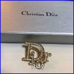 CHRISTIAN DIOR Brooch Pin AUTH Logo GOLD color CD Rhinestone Rare Kawaii F/S BR1