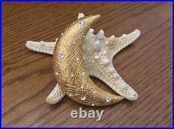 CHRISTIAN DIOR The Look Of Real Crescent Moon Gold-tone Crystal Brooch/Pin