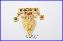 CHRISTIAN LACROIX Vintage Gold withGlass Stones Paris Signed Pin Brooch Heart