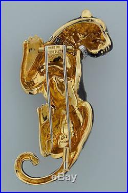 C. 1970s DAVID WEBB ENAMEL DIAMOND YELLOW GOLD PANTHER PIN BROOCH
