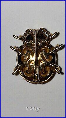 Carrera Y Carrera 18k Gold Onyx Ruby Romeo Juliet Kissing Lady Bug Brooch Pin
