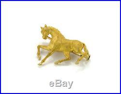 Carrera y Carrera 3 Dimensional 18k Yellow Gold Horse Brooch Pin