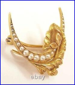 Carter Gough 14K Pearl Crescent Moon Poppy Watch Pin Antique Nouveau Gold Brooch