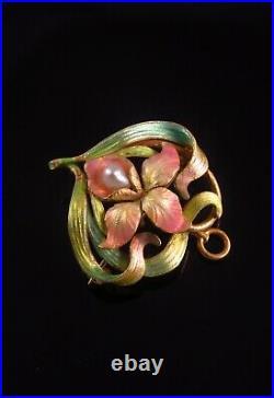 Carter & Gough 14k Gold Art Nouveau Enamel Pearl Iris Brooch Watch Pin Pendant