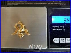 Carter & Gough Antique Art Nouveau 14k Gold Griffin Dragon Diamond Brooch Pin