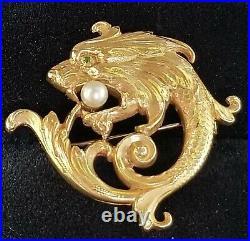 Carter & Gough Antique Art Nouveau 14k Gold Griffin Dragon Pearl Brooch Pin 4.3g