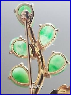 Cartier Gold Leaf Motif Jade Jadeite Pin Brooch