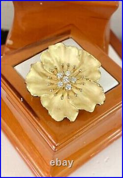 Certified Tiffany & Co Vintage 18K. Y. Gold Diamond Blossom Flower Pin Brooch