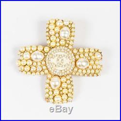 Chanel 05A Gold Tone Faux Pearl'CC' Logo Cross Pin Brooch