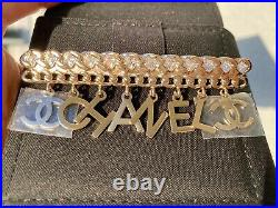 Chanel 2019 P Gold Chanel CC Logo White Crystals Charms Brooch Pin