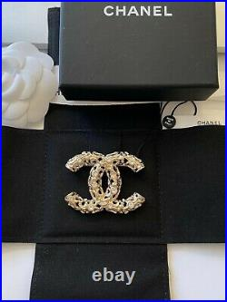 Chanel 2019 Rev Golden Baroque Style CC Logo White Crystals Brooch Pin Charm