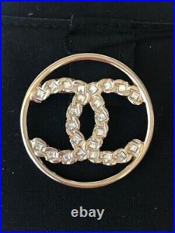 Chanel 2019p Golden Tone CC Logo White Crystals Round Brooch Pin Charm Nib