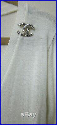 Chanel CC LOGO Gold Tone Rhinestone Brooch Pin