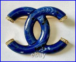 Chanel CC Logo Blue Design Resin Crystals Gold Tone Pin Brooch Nwt