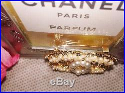 Chanel CC Logo Goldtone/Faux Pearl Brooch/Pin Vip Gift New