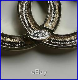 Chanel CC Silver Gold Metal Shiny Brooch Pin Badge With Box