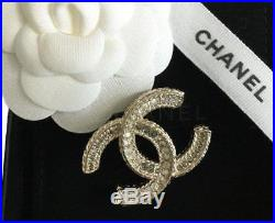 Chanel Classic CC Crystal Encrusted Gold Pin Brooch New New with Box