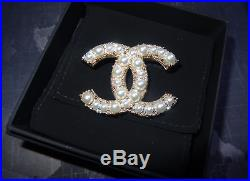 Chanel Classic CC Logo Pearl Brooch Pin