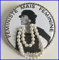 Chanel Coco Black /white Feministe Mais Feminine Pearl Necklace 3 D Brooch Pin