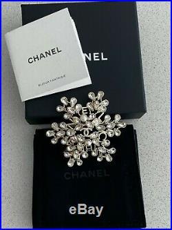 Chanel Fw19 Snowflake CC Logo Crystal Brooch Pin