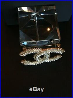 Chanel Gold Brooch Pin Pearls Authentic Fashion Jewelry