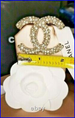Chanel Gold Crystal Pearl CC Classic Large Brooch Pin