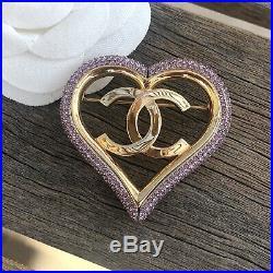 Chanel Gold & Pink Crystal CC Logo Heart Brooch Pin