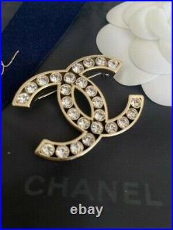 Chanel Gold Tone Sparkly CC Logo Crystal Brooch Pin