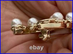 Chanel Gold Tone Sparkly CC Logo Crystal Pearl Small Brooch Pin