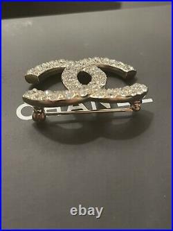 Chanel Golden Crystal Brooch Pin CC