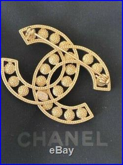 Chanel Large CC Logo Gold Pearl Brooch Pin