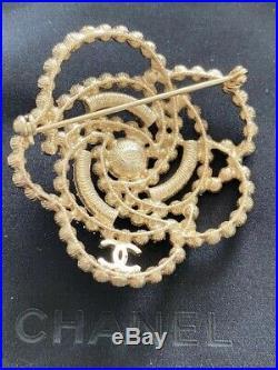 Chanel Large Flower CC Logo Crystal Pearl Brooch Pin