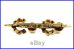 Chanel Rare Brooch Pin COCO Pearl Rhinestone Crystal CC Logo 1984 Vintage