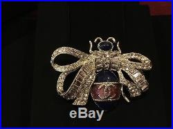 Chanel Strass Wings CC Brooch Pin Crystal Bee Bug Butterfly