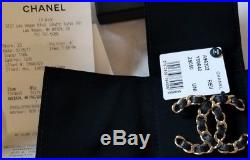 Chanel Women' Accessories Black Leather Gold Metal Chain CC Logo Pin Brooch NWT
