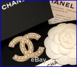 Chanel XL Classic CC Pearl Crystal Jewel Gold Pin Brooch NIB Receipt
