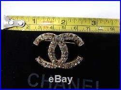 Channel Large Crystal CC Logo Gold Plated Brooch / Pin