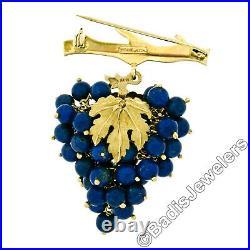 Chiampesan 14k Gold Mobile Round Lapis Bead Large Grape Cluster Badge Pin Brooch
