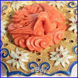 China Filigree Enamel Gold 14k Brooch Pin Crane Bird Coral Carving Lotus Amulet
