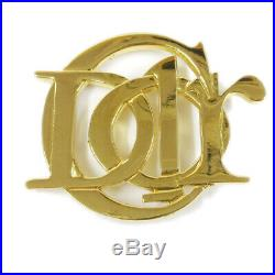 Christian Dior Logos Brooch Pin Corsage Gold Accessories Authentic A49537
