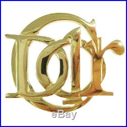 Christian Dior Logos Charm Brooch Pin Corsage Gold-Tone Accessories AK35969a