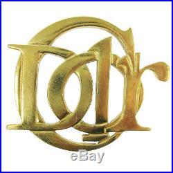 Christian Dior Logos Charm Brooch Pin Corsage Gold-Tone Accessories AK38077