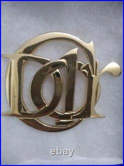 Christian Dior Signed Pin Monogram Brooch Vintage Logo Gold AUTHENTIC & HUGE Vtg